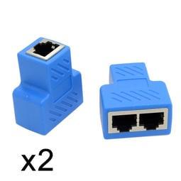(2個1組) 網路三通頭 網路一分二接頭 可同時上網 網路延長 網路分接頭 網路分配頭 RJ45網路分線器 UT-014