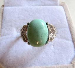 天然高檔高瓷綠松石戒指蛋面形戒指12*9mm靚麗活圍戒子活口女戒指環珠寶玉石寶石首飾飾品