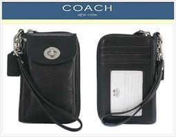 超取送禮券$100~男士可用【COACH】轉釦皮革多功能證件夾/手拿包/手機包(黑色)62082