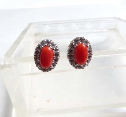 收藏品阿卡aka紅珊瑚耳釘耳環耳鈎耳針耳飾5.5*3.2mm高貴有氣質美女貴婦必備有機寶石珠寶首飾彩色寶石首飾飾品