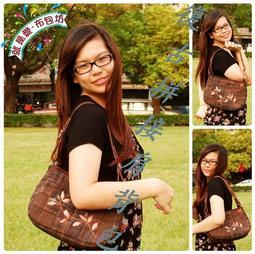 【就是愛~布包坊】MIT手工日本先染布側背包/拼接貼布縫加法國結粒秀肩背包單一獨賣