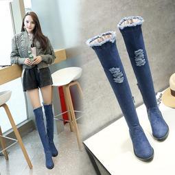 長靴平底 鞋碼[33-43] 平底薄女靴子過膝長靴高筒春秋款單靴長筒靴高跟鞋子 新年新貨