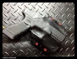 【狩獵者生存專賣】KYDEX板 一般型二代版MOLLE/腰封系統手工槍套-黑卡夢配紅for G17專用