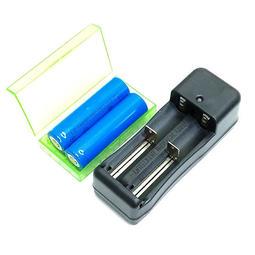 4件套裝組 18650電池x2顆+充電器+收納盒 DC3.7V手電筒充電電池正極有凸點 3800m型