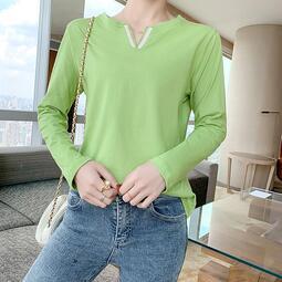 《預購》IEGO~K80445~純棉秋裝新款純棉V領長袖T恤女韓版修身打底衫學生顯瘦上衣女性衣服服飾流行女裝服裝休閒服