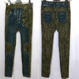 厚地 仿牛仔 豹紋 刷白 藍色 保暖時尚 流行舒適 高彈性 全彈性 內搭褲 保暖褲 加厚款 顯瘦 冬天必備