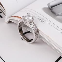 日韓時尚白金女款U型鋯石水鑽可調式開口戒指情人節禮物生日禮物買一送二