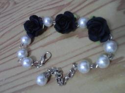 【瑪西瑪小屋】全新品,高級黑色玫瑰花  樹脂花手鍊