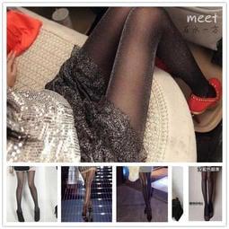 主播性感銀絲閃光黑絲襪 發光誘惑薄絲襪1210 亮絲亮蔥連褲襪潮襪