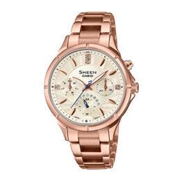 【eWhat億華】CASIO SHEEN SHE-3047PG-9A 簡約奢華施華洛世奇水晶 手錶  SHE3047平輸