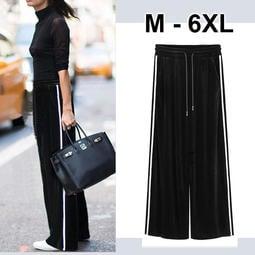 大尺碼 顯瘦絲絨闊腿長褲M-6XL【紐約七號】A8-062