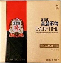 【現貨供應中,免運費】正官庄 高麗蔘精EVERYTIME 30入*1盒(6年根高麗蔘精華液,韓國原裝進口)