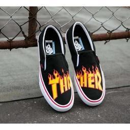 美版 全新正品 THRASHER x VANS SK8-HI PRO 一腳蹬 懶人鞋 板鞋 滑板鞋 火焰