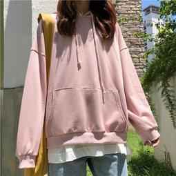 衛衣女連帽2018秋裝新款純色寬鬆韓版學生ULZZANG長袖外套上衣
