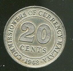 【硬幣】MALAYA(馬來亞),20 CENTS,K9,1948,品相美上VF+ #191024
