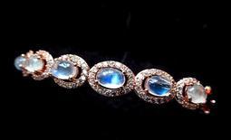 6mm/6.1g超大玻璃體藍光充足極美藍月光石玫瑰金包邊手鐲鐲子手鍊手鏈手串手珠佛珠珠寶玉石寶石首飾飾品