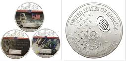 紀116  2019美國登月紀念彩色鍍銀紀念幣