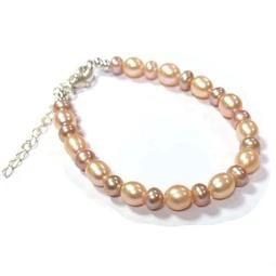 天然珍珠粉紅米型珠與紫色扁珠純銀手鍊