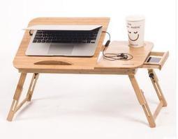 筆記本電腦桌 床上用電腦桌 折疊懶人桌 簡約學習小書桌子精緻鏤空散熱風扇實用抽屜升降面板 伸縮桌腿lu