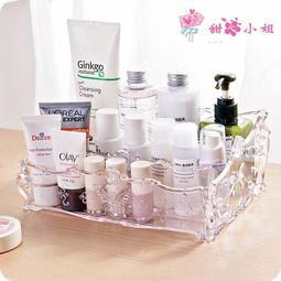 桌面歐式玫瑰化妝品收納盒梳妝台整理盒