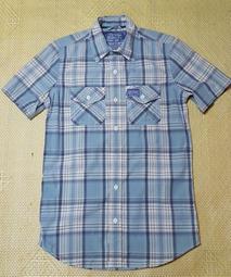 Superdry 淺藍色格紋短袖合身襯衫 S號 二手正品