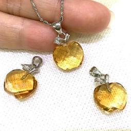 『晶鑽水晶』頂級黃水晶蘋果型墜子~色澤飽潤~招財秀氣款!乾淨度高~情人節禮物*附鍊子