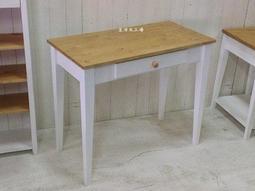 生活木工場-A17實木桌/餐桌/書桌/工作桌/電腦桌/訂購-斜式桌腳(雙色輕刷舊樣式)