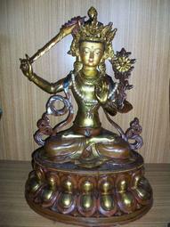 【義賣品】鎏金銅像文殊菩薩佛像