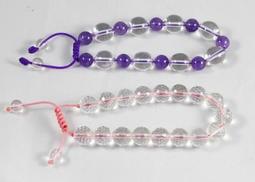 水晶 手環 兩件合售 紫水晶 白水晶