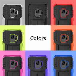 三星 S9 Plus S9+輪胎紋手機殼 全包保護套 炫紋背蓋 鎧甲手機套 防摔保護殼 支架 蜘蛛紋外殼