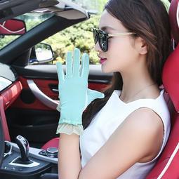 超商三件免運 防曬袖套 開車防曬手套女夏季薄款防紫外線防滑短款蝴蝶結蕾絲遮陽騎車手套