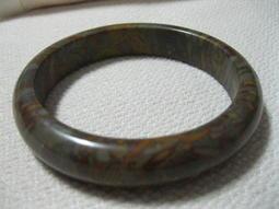 《母子玉石水晶》調整磁場=天然女媧石手鐲/玉鐲內徑61ㄨ板13mm手環玉環~補財氣、增福氣~✿非一元起標[A62]