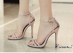 細跟魚口高跟涼鞋 多層皮帶扣 高跟鞋 晚宴鞋 新娘鞋 涼鞋 *Kwoomi-A71