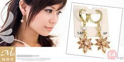 ☆韓國進口-14Kgp專櫃款 耀眼太陽花 耳環(603-6-18)金棕*(現貨)