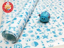 【GT安心包裝】藍色海洋的傳說漢堡包裝紙 30X30公分 50張 漢堡紙 包裝紙 淋膜紙 三明治紙 食品包裝紙 吸油紙