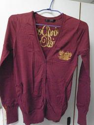 (二手衣出清免運)moussy棗紅學院風針織衫