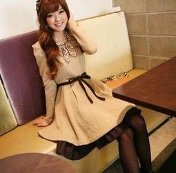2013秋冬款韓版顯瘦禮服長袖連衣裙顯瘦小洋裝$700含運