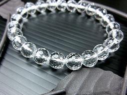 □§Disk的天然水晶§□【激光料】頂級白水晶鑽石切面圓珠手鍊(8mm)FC16