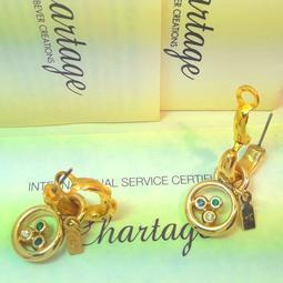 比利時【Chartage】無過敏無鎳 包18K水晶鑽穿耳耳環(9413023)
