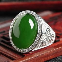 女人要有錢高檔大氣男女款天然和田玉碧玉鑲嵌925銀指環可伸縮玉戒指蛋面戒指 玉指環滿綠翠綠活戒帶證書 送精美禮盒