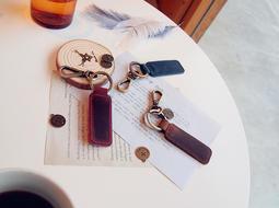 【Black Elk】個性 復古 牛皮鑰匙扣 客製化 壓字 皮革 禮物 鑰匙圈 吊飾 真皮 手工