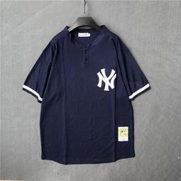 【冰球服】揚基NY棒球服短袖開衫男寬松大碼T恤bf街舞嘻哈數字球衣女班服7號