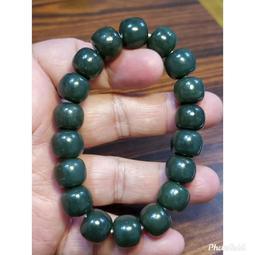 和闐玉 和田玉 青玉 手鍊 手環 手珠 老型珠 12mm+ 天然 ❤水晶玉石特賣#C180-3