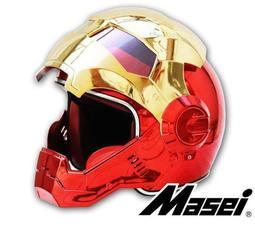Masei公司貨美國 鋼鐵人安全帽 IRON MAN 鐵灰 逼  限量 多功能 全罩式 安全帽 下殺6折 電鍍