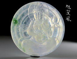 【旭笙風】天然緬甸玉老坑玻璃種起瑩放光飄綠翡翠 「觀音菩薩」老雕工珍藏版