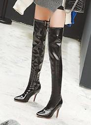 【明良精品】HSF-W-16時尚尖頭跟高9公分過膝長筒靴(製作鞋碼:33~48碼)接受筒圍加大