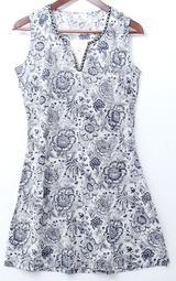 來自印度 貴族 精品 ANOKHI 方領 黑白花草 手工刺繡蓋印 無袖庫塔 KURTA S號 M號 L號