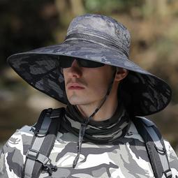 帽子 帽子男夏天加大帽沿戶外漁夫帽防曬遮陽帽迷彩登山太陽帽釣魚騎車