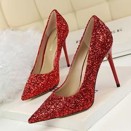 歐美風淺口閃耀亮片性感顯瘦夜店婚鞋尖頭高跟鞋 #S3074# 預購  MINA.N