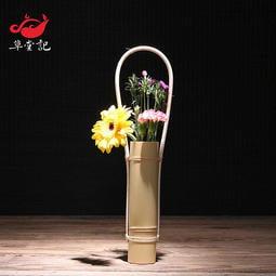 白色日式 玉竹 插花器 竹子花瓶 花器  花筒 創意小花瓶 禪意花器